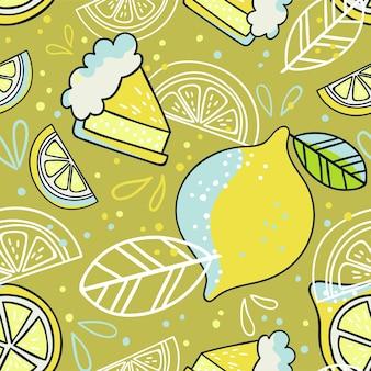 Ręcznie rysowane wzór z cytryn. doodle tapeta wektor. kolorowa i jasna ilustracja ze świeżymi owocami.