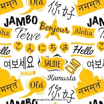 Ręcznie rysowane wzór z cześć słowo w różnych językach