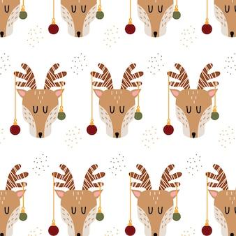 Ręcznie rysowane wzór z jelenia bożego narodzenia
