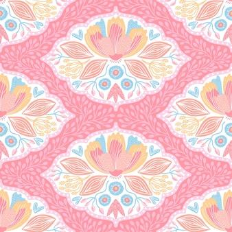 Ręcznie rysowane wzór z kolorowych kwiatów