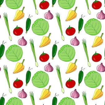 Ręcznie rysowane wzór z kolorowych warzyw. ilustracji wektorowych. warzywo dla sałatkowego stylizowanego tła.