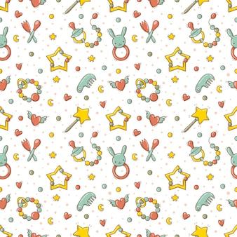 Ręcznie rysowane wzór z kolorowymi zabawkami i akcesoriami dla dzieci