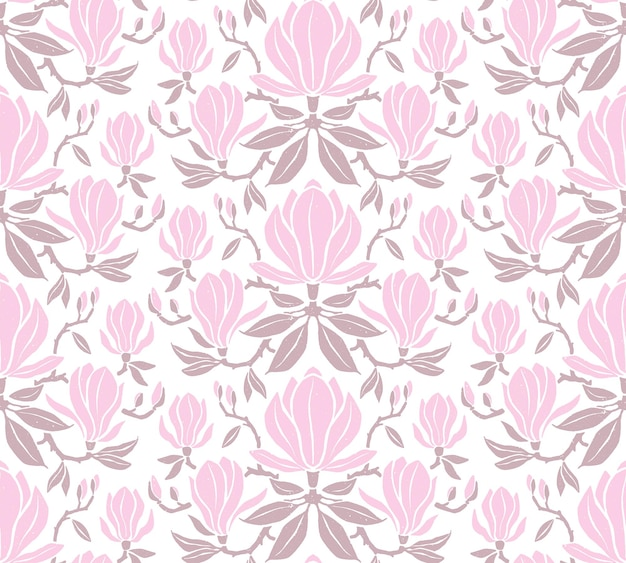 Ręcznie rysowane wzór z kwiatami magnolii.