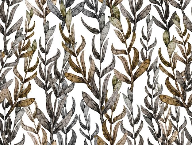 Ręcznie rysowane wzór z liści.