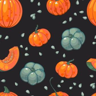 Ręcznie rysowane wzór z pomarańczowe i zielone dynie, nasiona i plasterki dyni.