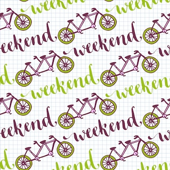 Ręcznie rysowane wzór z rowerami i napis weekend. wektorowy tło z tandemowym bicyklem dla projekt dekoraci.