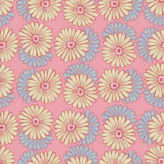 Ręcznie rysowane wzór z wyprofilowanymi kształtami słoneczników. pastelowe różowe tło. śliczny kwiatowy nadruk. ilustracja wektorowa dla sezonowych wydruków tekstylnych, tkanin, banerów, teł i tapet.