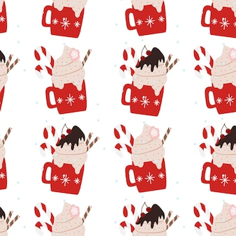Ręcznie rysowane wzór z zimowymi kubkami świątecznymi