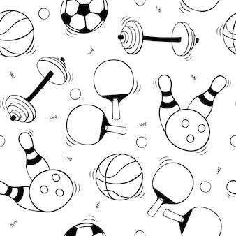 Ręcznie rysowane wzór ze sprzętem sportowym w stylu szkicu doodle