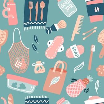 Ręcznie rysowane wzór zerowego marnotrawstwa życia. styl ekologiczny. bez plastiku. zzielenieć. torby wielokrotnego użytku, szczotki i butelki, szklany słoik na białym tle. ilustracja wektorowa płaskie
