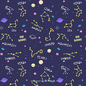 Ręcznie rysowane wzór zodiaku