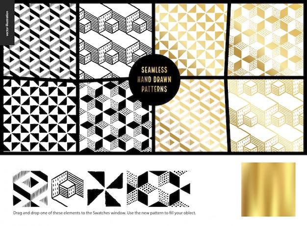 Ręcznie rysowane wzory, biały