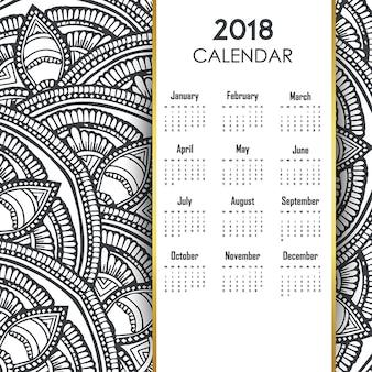 Ręcznie rysowane wzory kolorowe kalendarza linii
