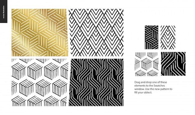 Ręcznie rysowane wzory z zestawem grupy thea
