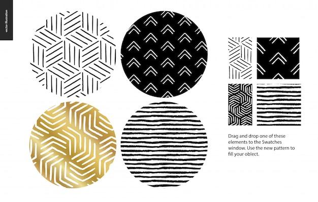 Ręcznie rysowane wzory zaokrąglone