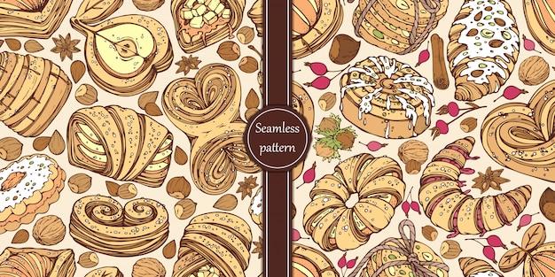 Ręcznie rysowane wzory ze słodkimi bułeczkami, orzechami, jagodami i przyprawami.