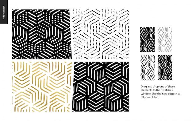 Ręcznie rysowane wzory - zestaw abstrakcyjnych wzorów bez szwu grupy