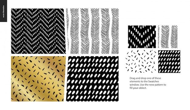 Ręcznie rysowane wzory - zestaw czterech abstrakcyjnych wzorów bez szwu