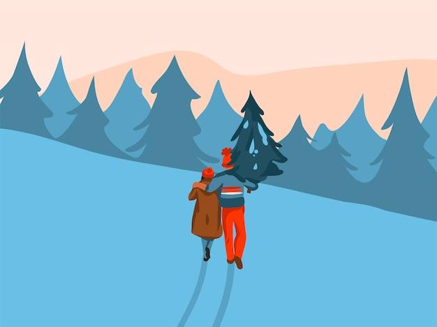 Ręcznie rysowane xmas para razem kupił i nosić do domu boże narodzenie drzewo na białym tle na krajobraz