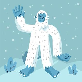Ręcznie rysowane yeti ohydna bałwana ilustracja