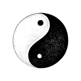 Ręcznie rysowane yin i yang