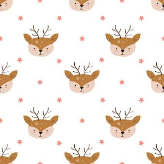 Ręcznie rysowane z cute jelenia z wzór