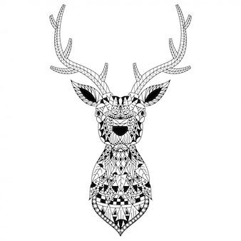 Ręcznie rysowane z głową jelenia w stylu zentangle