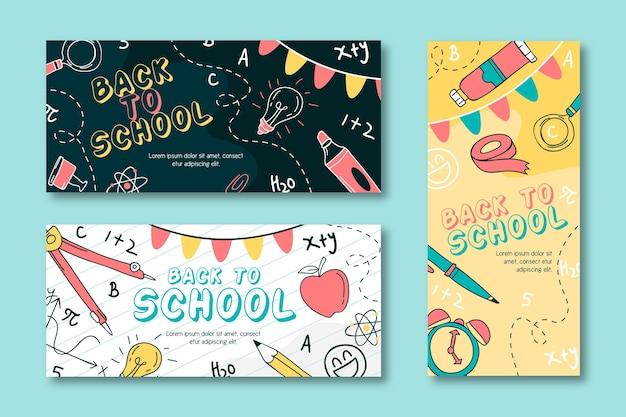Ręcznie rysowane z powrotem do banerów szkolnych