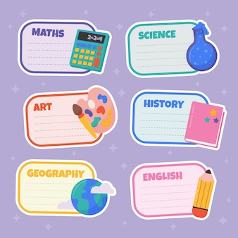 Ręcznie rysowane z powrotem do etykiet szkolnych
