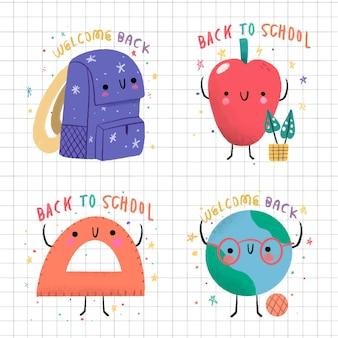 Ręcznie rysowane z powrotem do kolekcji etykiet szkolnych