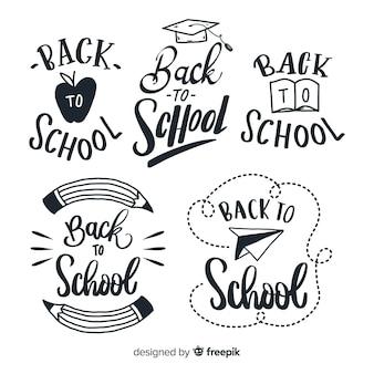 Ręcznie rysowane z powrotem do kolekcji odznak szkolnych