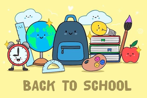 Ręcznie rysowane z powrotem do przyborów szkolnych