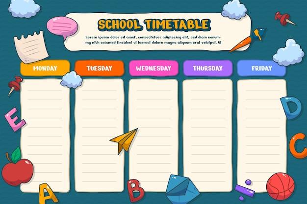 Ręcznie rysowane z powrotem do szablonu harmonogramu szkolnego