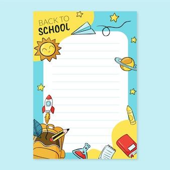 Ręcznie rysowane z powrotem do szablonu karty szkolnej