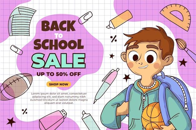 Ręcznie rysowane z powrotem do szkolnego tła sprzedaży