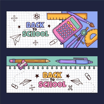 Ręcznie rysowane z powrotem do szkolnego zestawu poziomych banerów