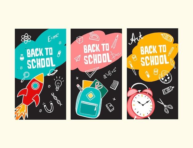 Ręcznie rysowane z powrotem do szkolnej kolekcji opowiadań na instagramie