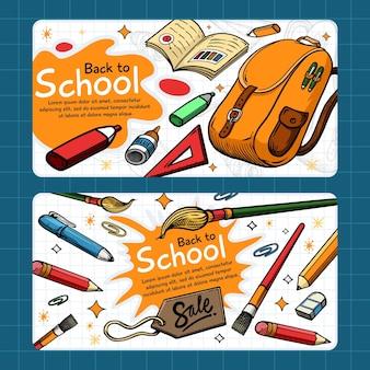 Ręcznie rysowane z powrotem do szkoły banery szablon