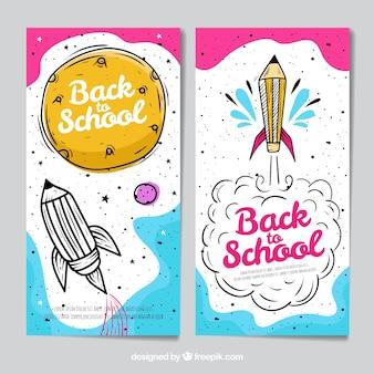 Ręcznie rysowane z powrotem do szkoły banery