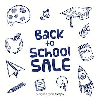 Ręcznie rysowane z powrotem do szkoły sprzedaży tła