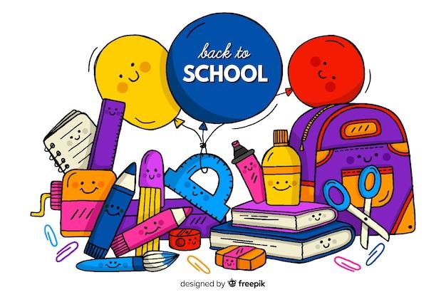 Ręcznie rysowane z powrotem do szkoły