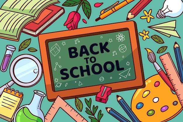 Ręcznie rysowane z powrotem do tła szkolnego