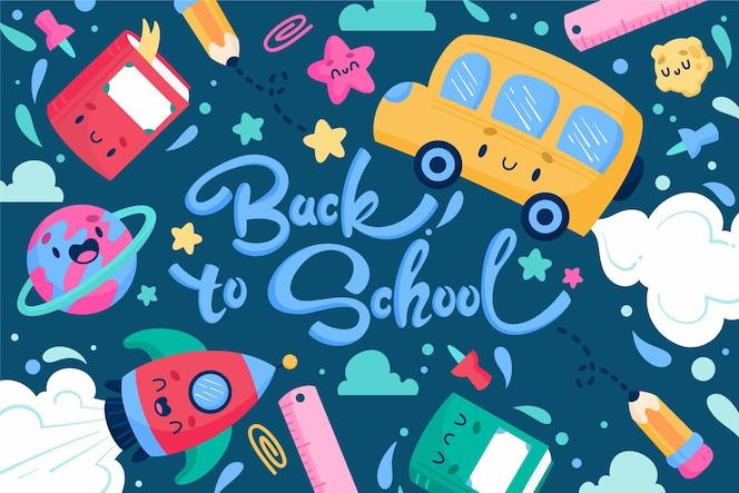 Ręcznie rysowane z powrotem do tła szkoły