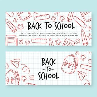 Ręcznie rysowane z powrotem do zestawu banerów szkolnych