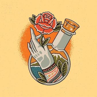 Ręcznie rysowane z ręki i czerwona róża w stylu starej szkoły tatuażu.