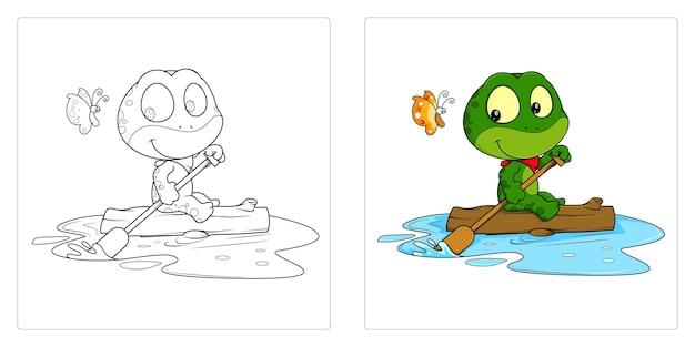 Ręcznie rysowane żaba do kolorowania stron premium vector