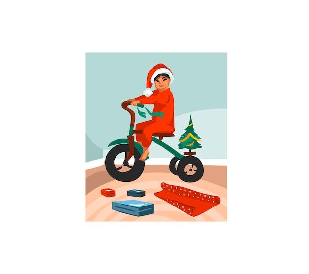 Ręcznie rysowane zabawa zapasów płaskich wesołych świąt kreskówki świąteczna ilustracja xmas dzieci rozpakować prezenty w domu na białym tle.