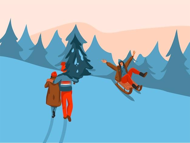 Ręcznie rysowane zabawa zapasów płaskie wesołych świąt czas kreskówka świąteczna ilustracja xmas ludzi idących razem na białym tle na tle zimowego krajobrazu.