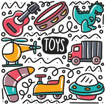 Ręcznie rysowane zabawki dla dzieci doodle zestaw z ikonami i elementami projektu