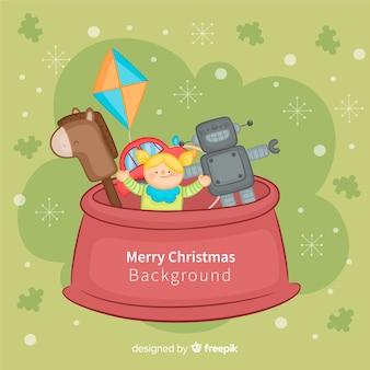 Ręcznie rysowane zabawki świąteczne tło